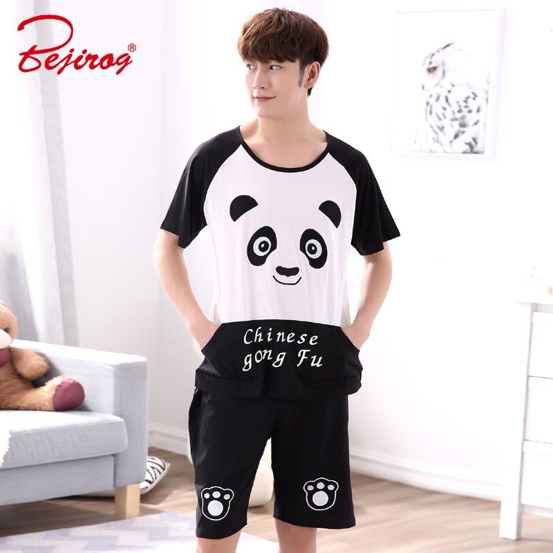 Sleepwear Cotton Nightgown Male Summer 100% Short-sleeve Shorts Thin Men Pajamas Cartoon Summer Plus Size Lounge Set Men's Sleep & Lounge