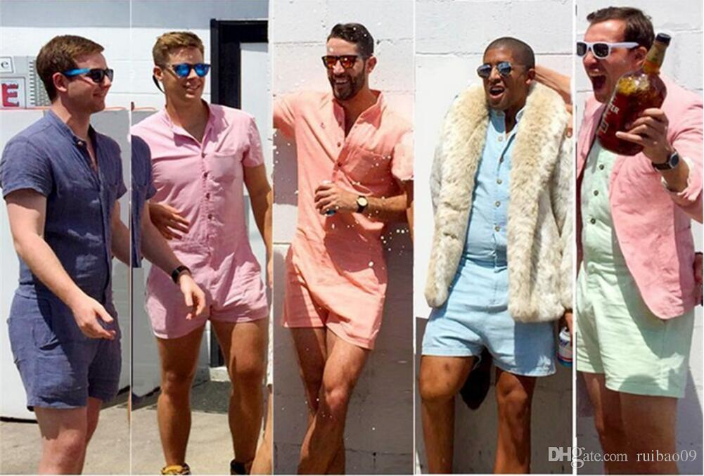 e93b6d59bd2d 2019 Men S Summer Fashion Short Sleeve Rompers Male Stretch Jumpsuit Single  Breasted Short Cargo Pants Tops Zipper Trousers Overalls From Ruibao09