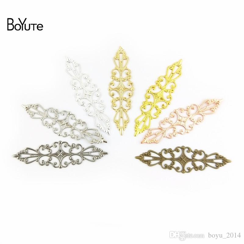 Takı Yapımı için BOYUTE 15 * 57mm Çiçek Charm Toptan Vintage Stil El yapımı Pirinç Malzeme Hollow Out DIY Charms