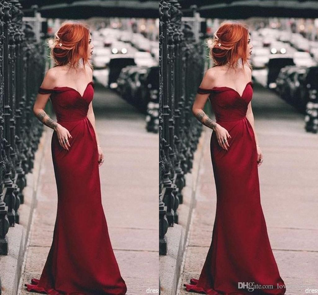 Burgundy Off The Shoulder Prom Dresses Long 2019 Pleats Mermaid Style  Backless Party Dress Simple Cheap Evening Gowns Formal Dresses Prom Dress  Patterns ... 7ab70f18a557