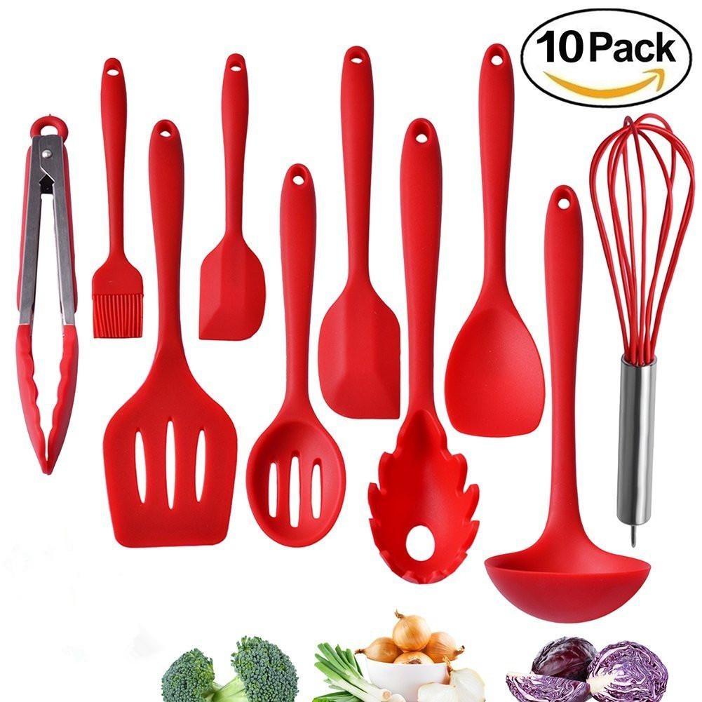 10 Pieces Silicone Kitchen Utensils Set Cooking Baking Tool Non Toxic Heat Resistant With Tongs Whisk Brush Ladle Spatula Slotted Spoon