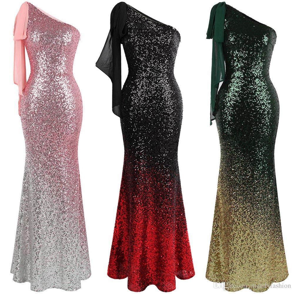 Angel-fashions Women s Asymmetric Ribbon Gradient Sequin Mermaid ... 13789efb30ae