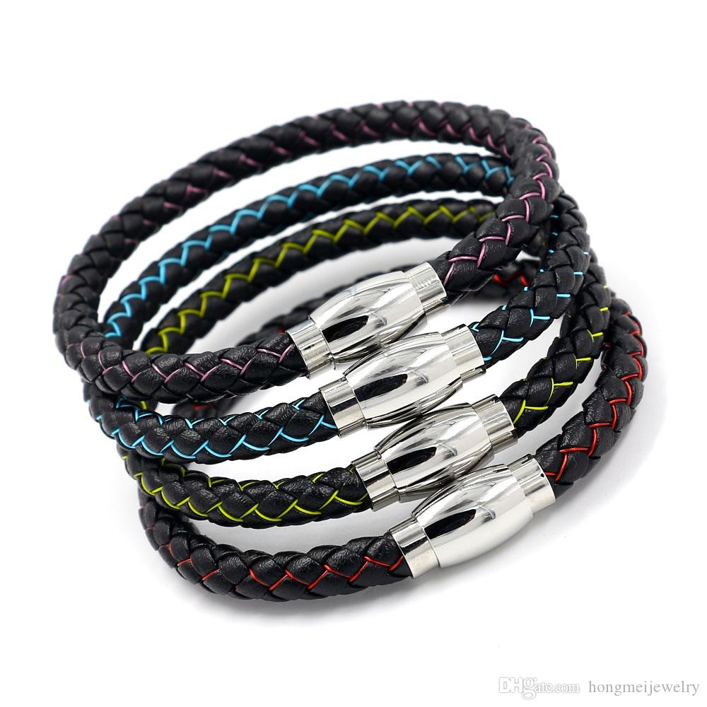 DENER Unsex Multilayer Handmade Clasp Wrist Chains Braided Leather Cuff Bangle Wristband Rope Alloy Stretch Bracelet