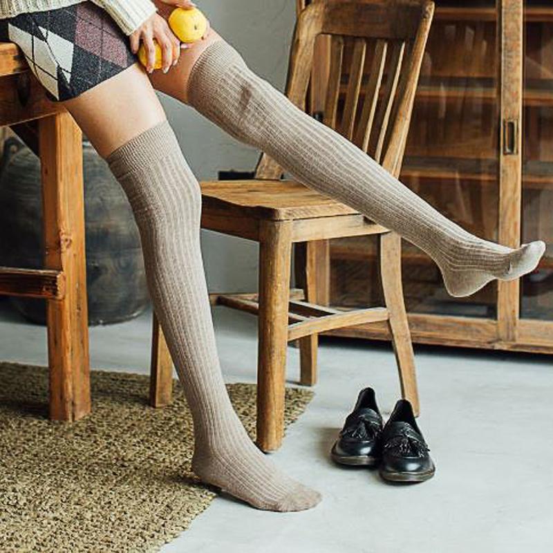 f68bce126af 2019 VVQI Over Knee Socks White Kawaii Thigh High Socks Japanese Cotton  Long Women Stockings Cute Students Pure Color Sweet Harajuku From Hannahao