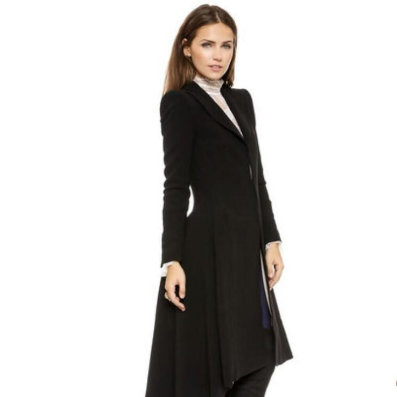 High Quality Brand New Womens Ladies Spring Autumn OL Swallow Tail Trench Knee Female Woolen Long Jackets Wool Blend Coats