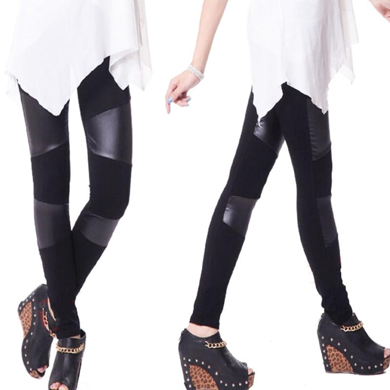 83ed9898e26b8 Fashion Women Patchwork Stitching Elastic Slim Leatherette Legging Stretchy  Pencil Pants Leggings Cheap Leggings Fashion Women Patchwork Stitching  Online ...
