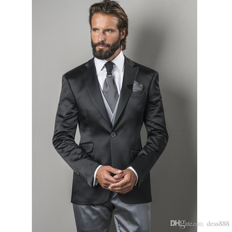 cf85657e52fd Los últimos diseños de la capa de la chaqueta traje de los hombres del  satén negro formal adelgazan la iluminación clásico Simple chaqueta de la  ...
