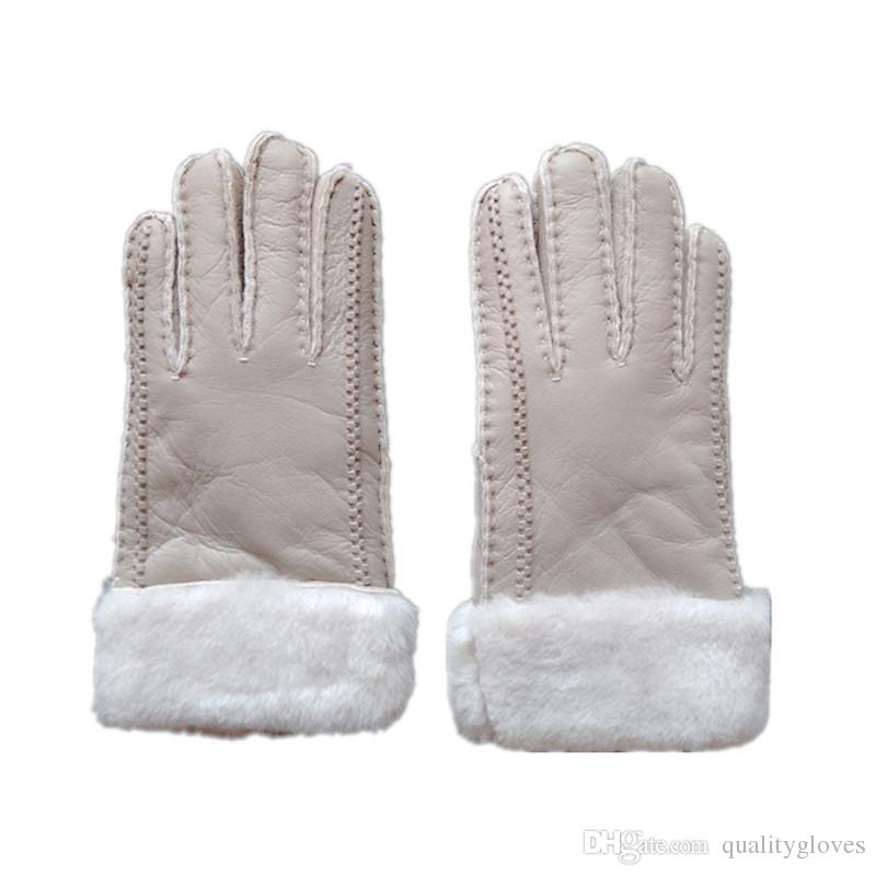 Women Simple Fashion Wool Gloves Sheepskin Gloves Elegant Pretty Winter Warm Gloves Frost protection wind protection