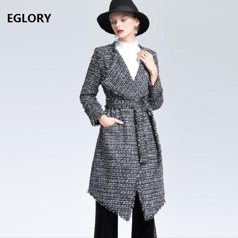 Hohe Frauen Umlegekragen Oberbekleidung Große Mantel 2018 Grau Wolle Herbst Mäntel Langen Gürtel Winter Verstellbaren Jacke Qualität IY6yfgvb7