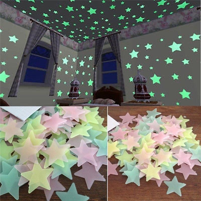 2018 100PC 3 Colors 3 3D Sticker Kids Bedroom Fluorescent Glow In The Dark Stars Wall Stickers 23%