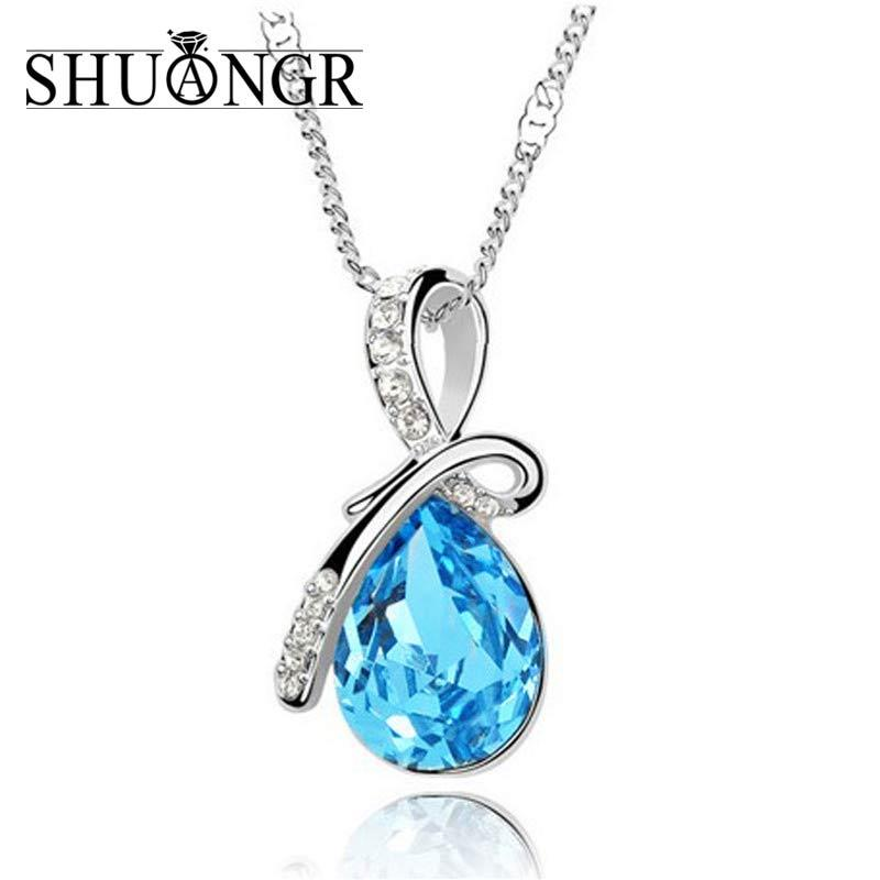 2f83b36fb74e2 whole saleSHUANGR Fashion Blue Crystal Water Drop Pendant Necklace Rhodium  Color Zircon Necklaces & Pendants For Women TL144-TL153