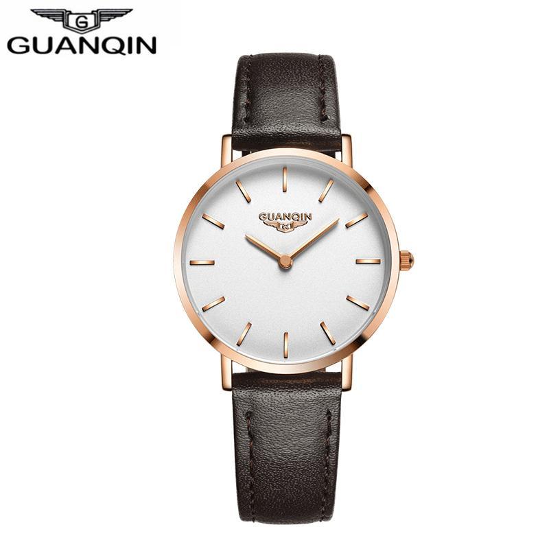 63360e1d0f8 Compre GUANQIN GS19092 Mulheres Relógio De Marca De Luxo Feminino Novo  Simples Casual Coreano Cinto De Couro Feminino Relógio De Quartzo De Moda À Prova  D   ...
