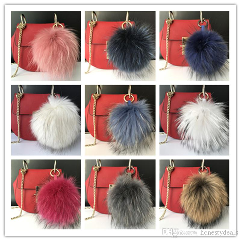 "15cm/6"" high quality 100% Real Genuine raccoon Fur Pom Pom Ball Bag charm Car Keychain Pendant"