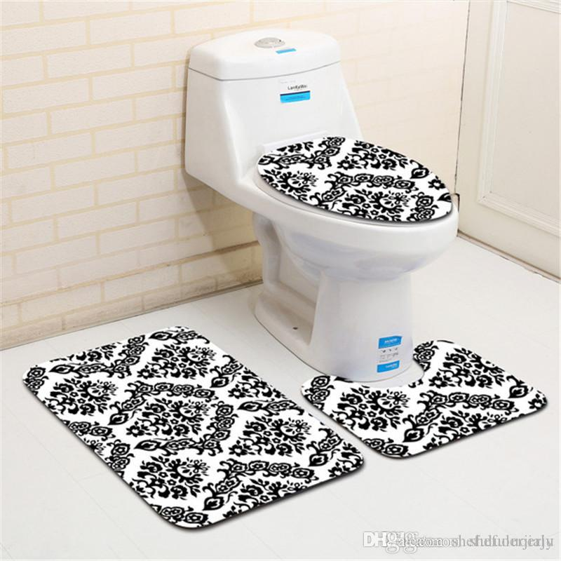 Blue Sea Bathroom bathmat Non-Slip Shark Pedestal Rug+Lid Toilet Cover+Mat