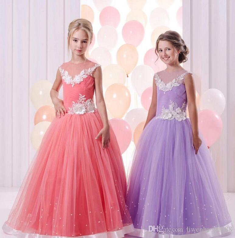 c00454e4f4c Blush Pink Ball Gown Flower Girls Dresses For Weddings Sheer Neck Long  Sleeves Embroidery Tulle Floor Length Children Wedding Dresses545  Flowergirldresses ...