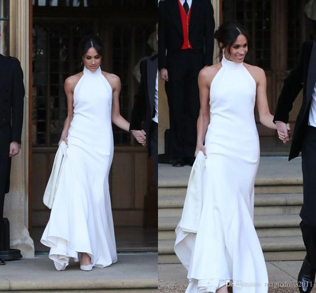 2019 Elegant White Mermaid Wedding Dresses Prince Harry Meghan Markle Wedding party Gowns Halter Soft Satin Wedding Recept Dress