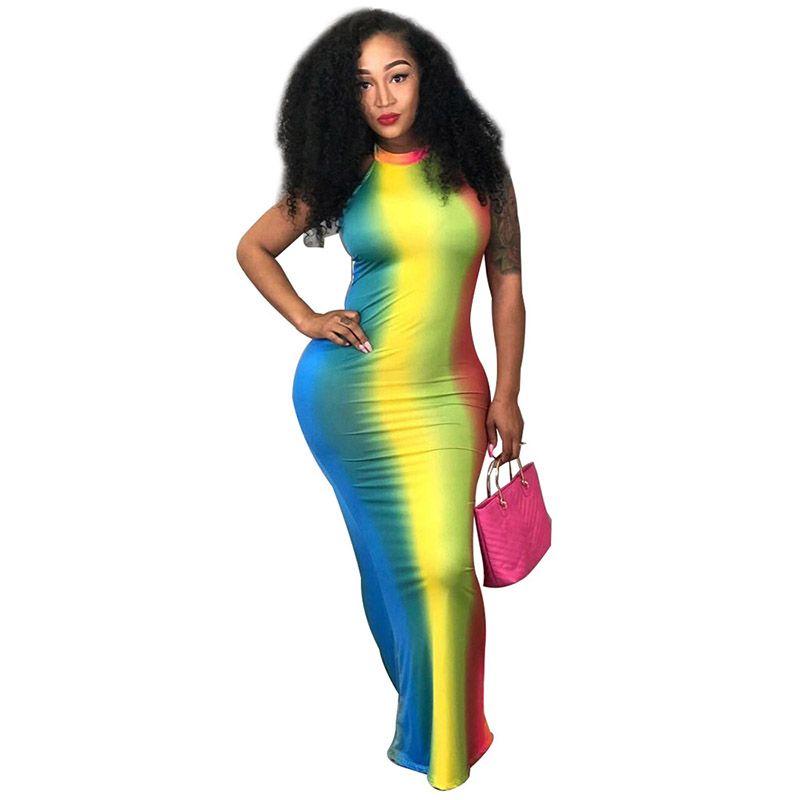 2018 летние женские платья Холтер спинки Радуга длина пола платье мода sexy галстук краситель печати рукавов многоцветный одежда