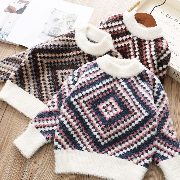 Girl Boutique Sweater Vintage Geometric Pattern Woof Knitted Baby