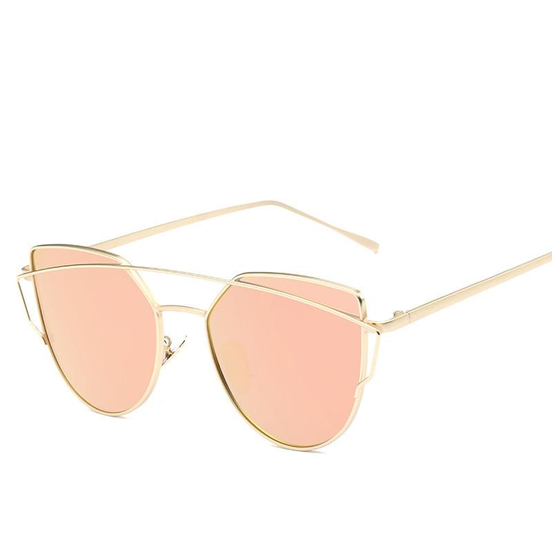 Compre Olho De Gato Mulheres Óculos De Sol 2017 Novo Design Da Marca  Espelho Plano Rose Gold Vintage Cateye Moda Óculos De Sol Senhora Óculos  UV400 De ... c0bcf3d9b9
