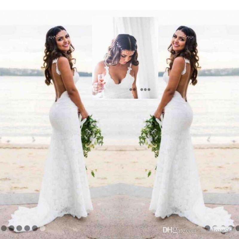 Sexy Lace Brautkleider Country Style Count Zug Tiefem V-Ausschnitt Backless Hochzeitskleid Hoho Günstige Handmade Mermaid Brautkleider Einfache Wear