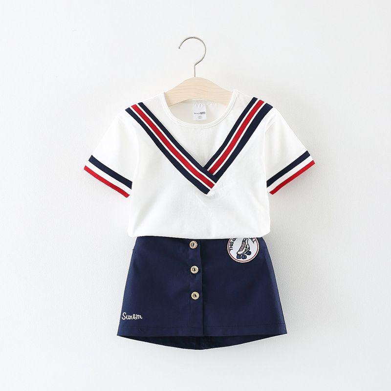 b30484546832 Fashion Baby Clothes Girls Sportwear Preppy Style Cotton Solid Short ...