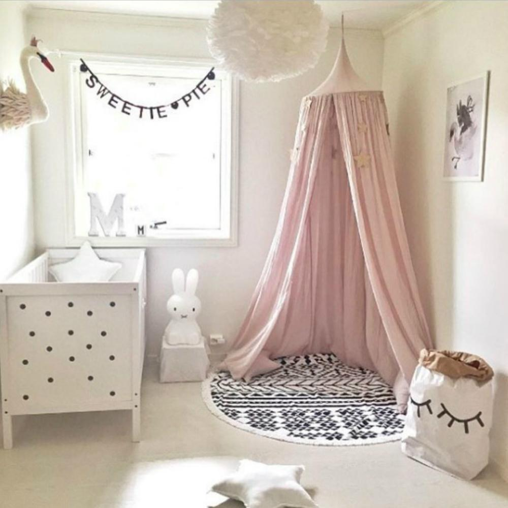 Princess Canopy Bed Valance Bed Curtain Kids Room Decoration Baby Round  Mosquito Net Tent Curtains 8 colors free shipping