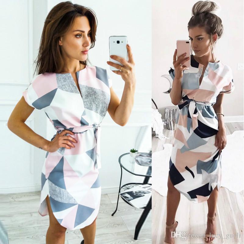 Hot Summer Style Dress Women Casual Asymmetrical Geometric Printing Short  Sash Knee Length Dress O Neck Elegant Women Dresses Vestidos Robes Off The  ... 1fd13548cf5b
