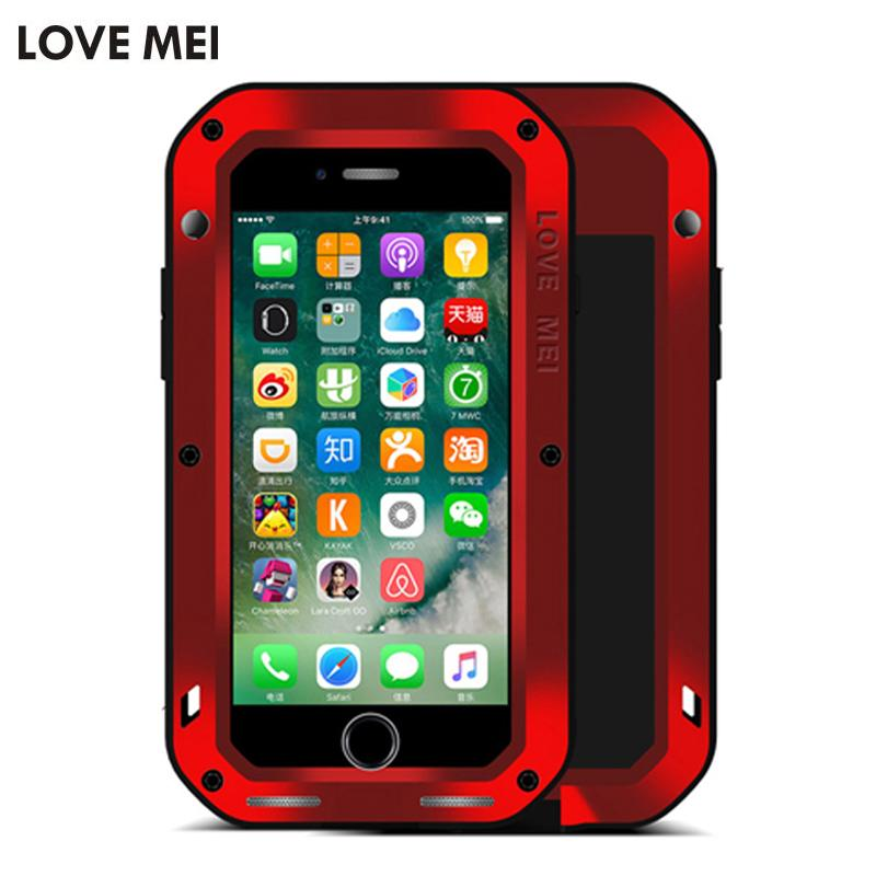 various colors d092e 15dfd Luxury Metal case for iphone 8 8 plus / 7 7 plus LOVE MEI Powerful Aluminum  Metal Shockproof Armor Case For iPhone 7 8 Plus coque