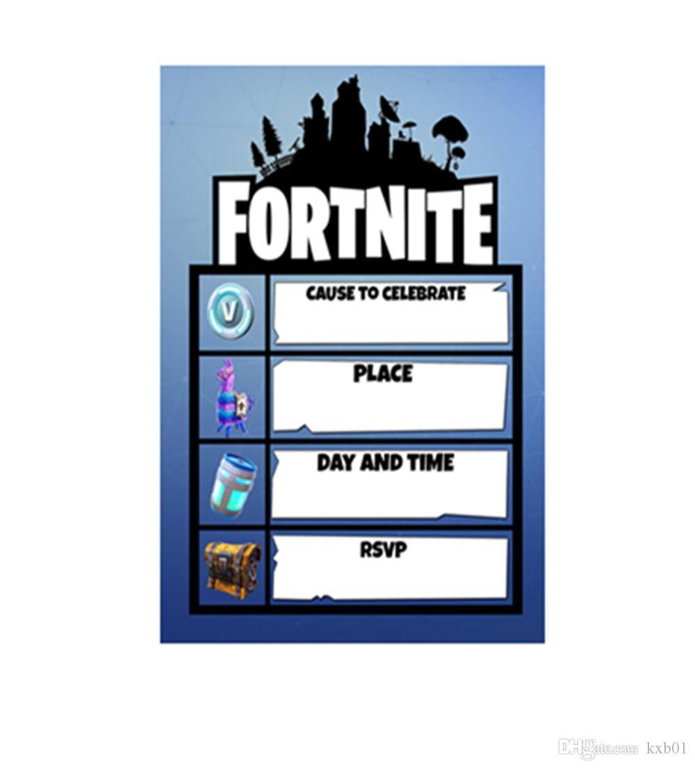 fortnite theme party paper invitation card birthday party
