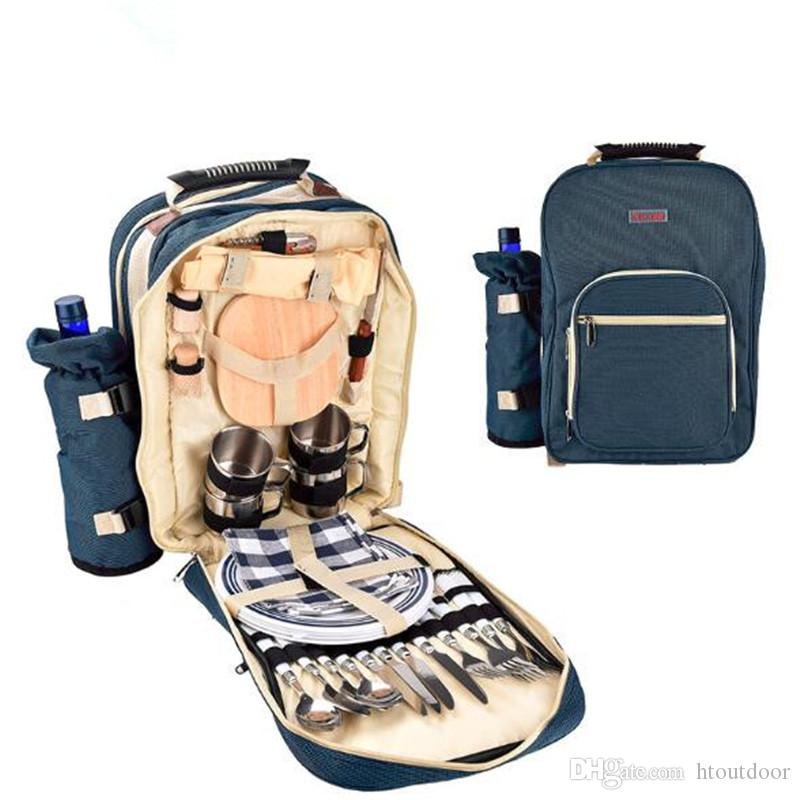 Outdoor Travel Camping Backpack Rucksack Set Handle Bag For Camping Hiking Picnic Bag 4 Person With Tableware