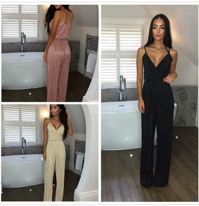e9dc41679cfe 2019 Dusty Pink Satin Slip Jumpsuit Sexy Cross Low Back Women Summer  Jumpsuits 2017 New Ruffle Strap Casual Elegant Jumpsuit From Baica