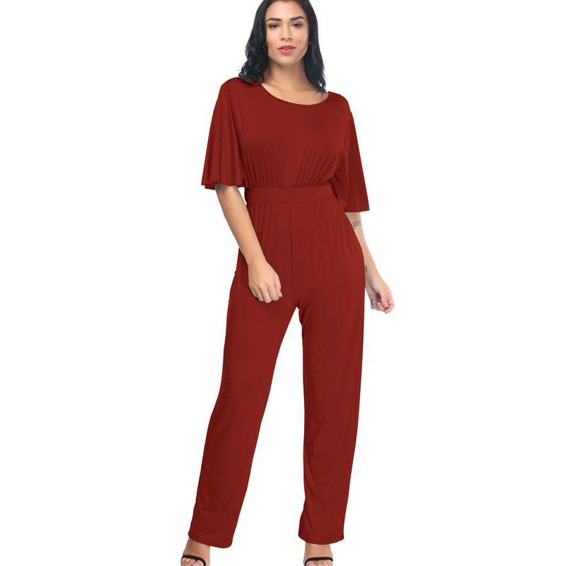 36b3c375d18f Acquista SEXY Allentato Tinta Unita Grande Moda Vento Tuta Temperamento  Casual Elegante Gioventù Splendida Estate Abbigliamento Donna A  39.0 Dal  Guchen3 ...
