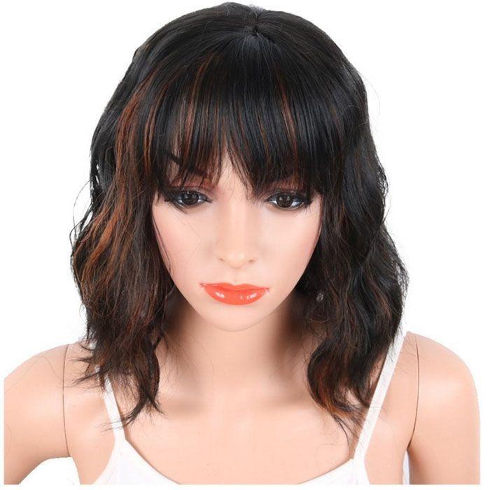 Синтетический парик волос F1b / 30 Термостойкий волокно Полный парик Capless средней длины Lady's Hair Wigs для черных или белых женщин