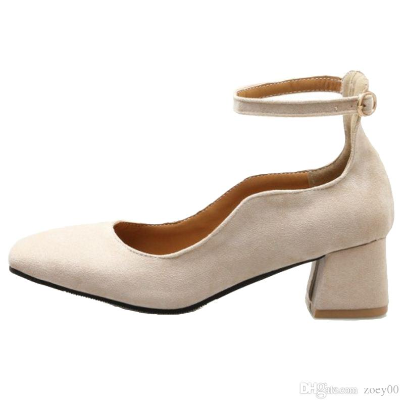 Smilice 2018 Woman Faux Suede Pumps with Chunky Heel and Square Toe Elegant Working Chic Shoes with Large Size Available A236