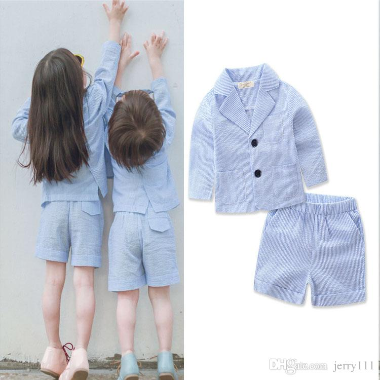 c30123f38063 2019 Kids Boys Girls Summer Clothing Sets Cute Suit + Pants Striped Suit  Kids Girls Boys Summer Clothes Kids Clothing DHL LA653 From Jerry111, ...