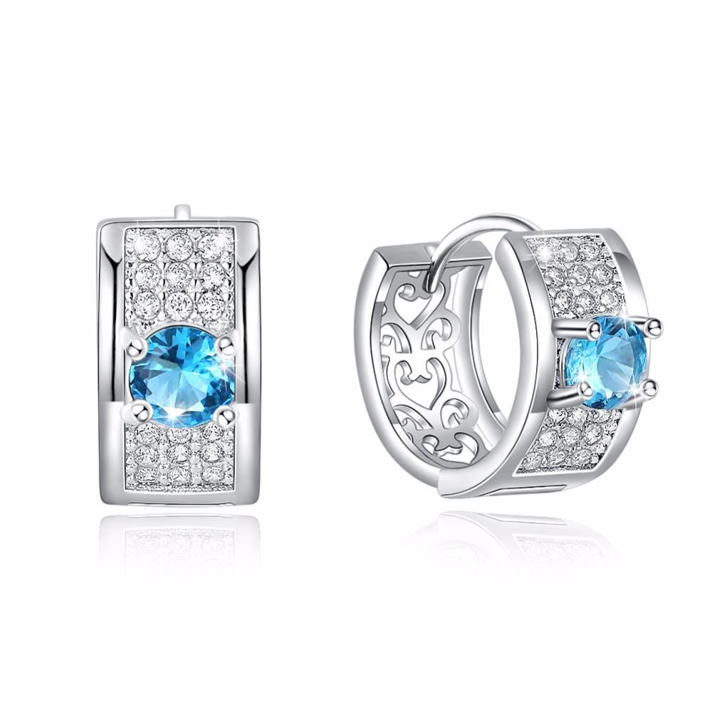 1bbe8cbf41a9d Fashion Earring Jewelry for Women Silver/Gold-Color Hoop Earring with Stone  CZ Zircon Crystal Loop Wedding Creole Earing