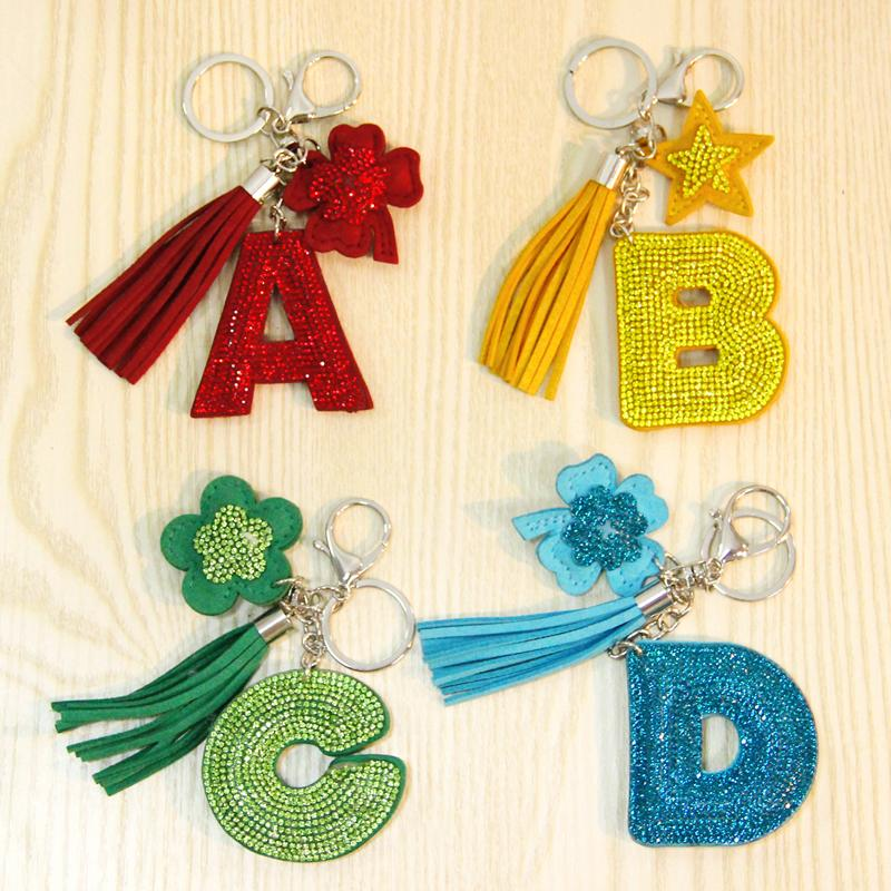 Cute Letter Keychain Glitter Crystal Sequins Key Chain Gifts For Women  Llaveros Mujer Car Bag Accessories Key Ring Photo Keyring Car Keychains  From ... 9ae00b9818