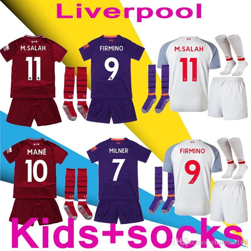 85f21e757 2018 19 M.SALAH Mane VIRGIL Kids Kits +Socks Soccer Jersey 18 19 Home Away  Third LALLANA FIRMINO Lucas SALAH Shirts Football Kit Jersey Canada 2019  From ...