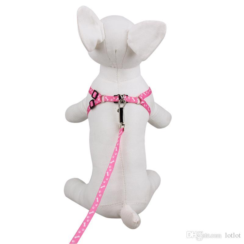 1 STÜCK Kleine Haustier Hund Nylon Leine Kabelbaum Gürtel Zugseil Halskette Hundehalsband Einstellbare Farbe Zufällig