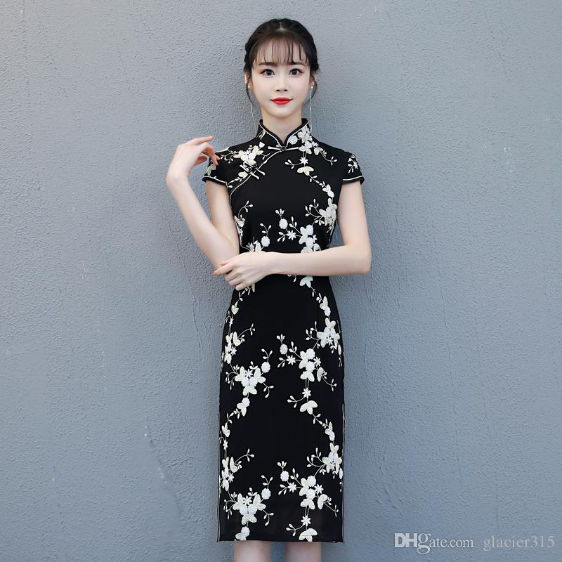 0b589daf9 Shanghai Story Black Chinese Style Dress Long Cheongsam Short Sleeve Floral Qipao  Knee Length Chinese Oriental Dress Cocktail Dresses Online Corset Dresses  ...
