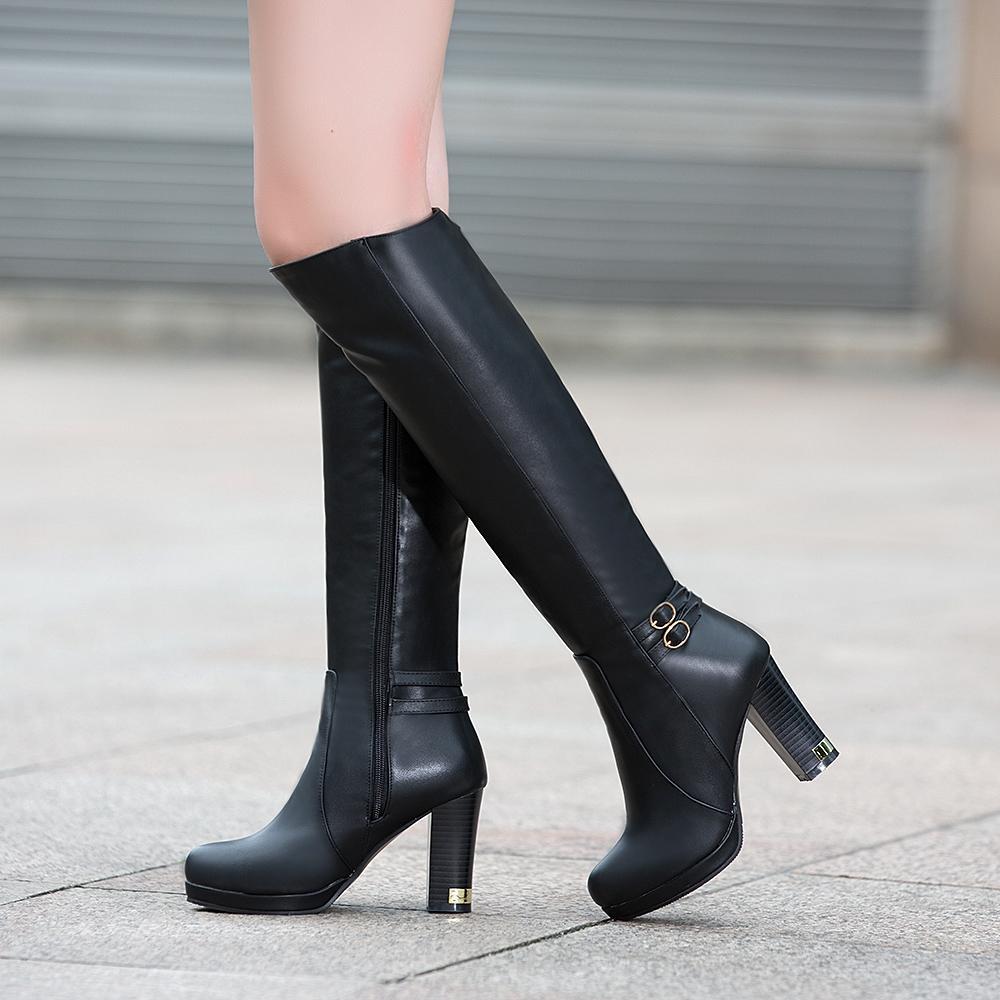 d9321941f5359 Acheter Zapatos Mujer Sapato Femmes Mi Mollet Matin Bottes Dames Chaussure  Fille Vintage PU Chaussons En Cuir Chaussures Femme Chaude Lace Up De   44.65 Du ...