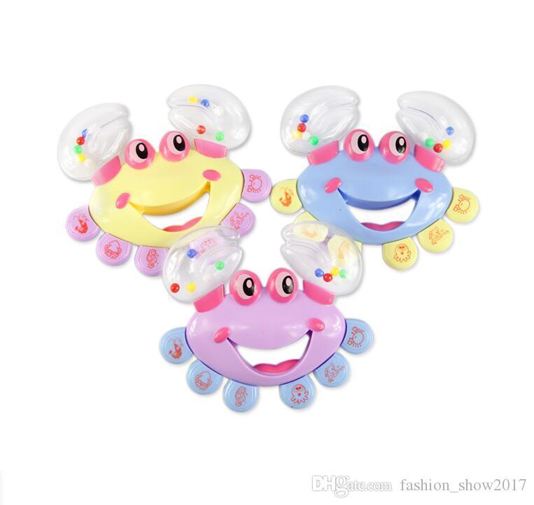 Moda Bebek Erkek Kız Oyuncak Çocuklar Bebek Yengeç Tasarım Handbell Enstrüman Jingle Çıngırak Oyuncak Hızlı Kargo