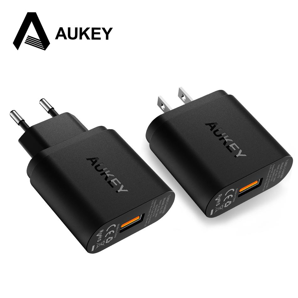 Aukey 18w Phone Usb Charger Quick Charge 30 Fast Mobile Pa T9 Turbo With For Iphone Xiaomi Samsung Galaxy S8 Etcqc 20 Compatible Cell Charging Pad