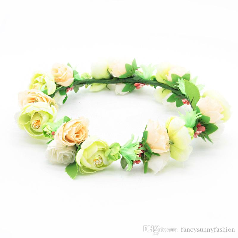 Prime headpiece flower garland wreath crown blooming flowers bridesmaid bridal hair accessories for wedding party beach holiday photography