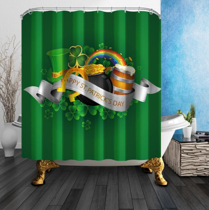 2019 Hot Shower Polyester Curtain Waterproof Creative Design Of St PatrickS Day Green Hat Series And Other New P From