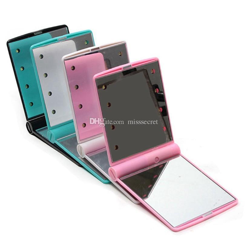8 Led 조명 램프와 휴대용 Led 조명 메이크업 거울 화장품 접는 휴대용 소형 포켓 손 거울 조명 아래 확인