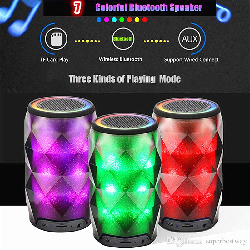 Crystal Can Diamond Bluetooth Speaker Seven Color Change Portable Wireless Speaker For Outdoor Subwoofer Support TF Card Mic MIS181