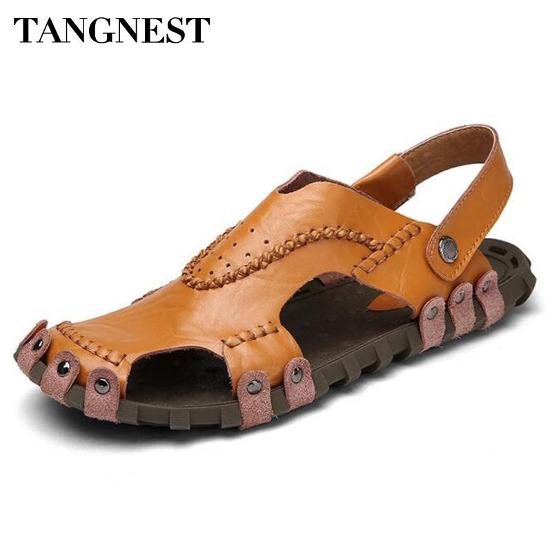 ae7fdf6a1e11 Tangnest Classic Gladiator Sandals 2017 Summer Men Beach Slippers Genuine  Leather Fisherman Shoes Man Closed Toe Sandals XML203 Wedge Boots  Comfortable ...