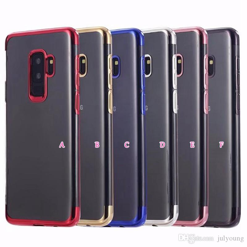 newest b97cb feccd Chromed Electroplate Soft TPU For Samsung Galaxy S9 Case S9 Plus Cases  Metallic Clear Bling Cover Transparent Cell Phone Back SKin Cover