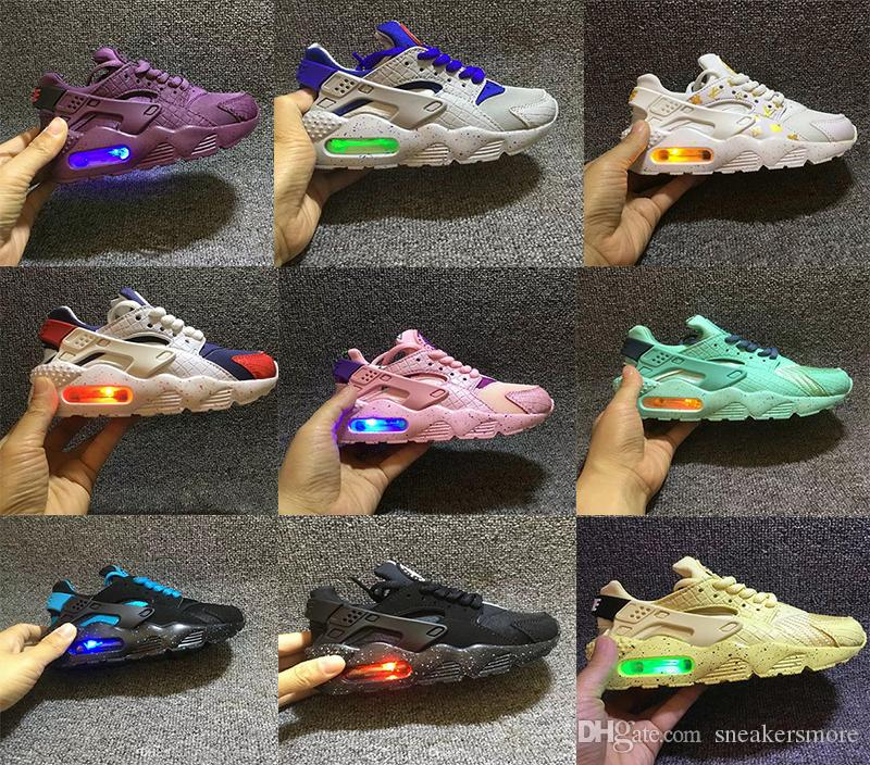 d1b2a207f691 Fashion Flash Lighted Kids Air Huarache Children Running Shoes Infant  Huaraches Outdoor Toddler Athletic Boy Girls Sneaker 26 35 Boys Running  Trainers Youth ...